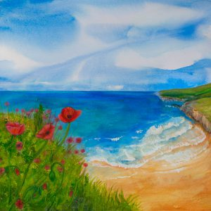Poppies by the Sea by Andrea Palmer
